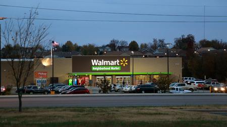 Shoppers at Walmart in the evening, Joplin, Missouri, November 2017