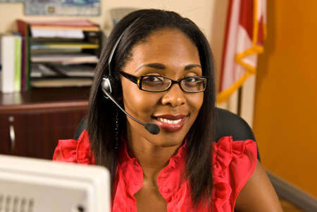 Beautiful African American Receptionist photo