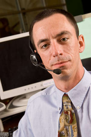 Caucasian Male Receptionist with Headset