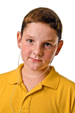 earbud: Young boy with earbud style headphones