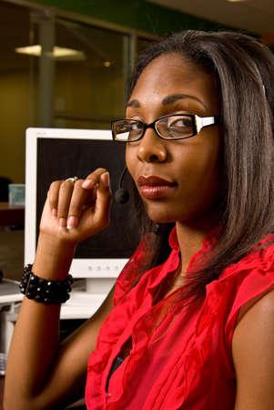 Beautiful African American receptionist photo