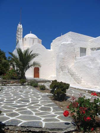 frontage: Whitewash Building, Paros, Greek Islands Stock Photo