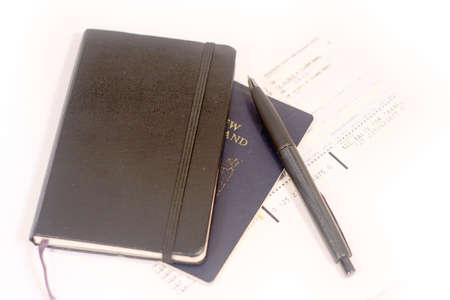biro: Dairy, pen passport and ticket