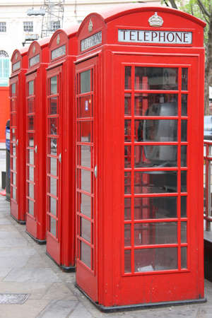 Four London Phone Booths  Stock Photo