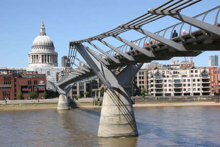 St Pauls and Millennium Bridge, London, UK photo