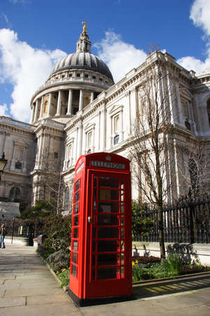 St pauls with phone booth in foreground photo