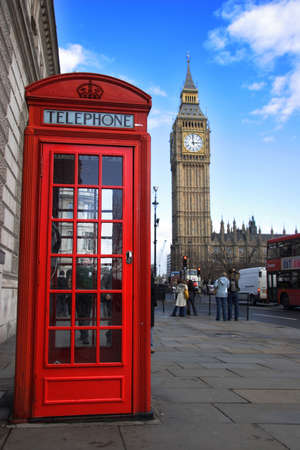 english famous: Phone box and big ben in background