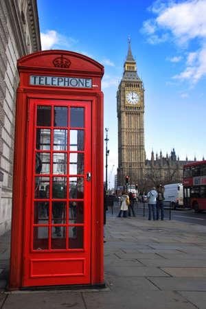 cabina telefono: Tel�fono caja y el Big Ben en el fondo