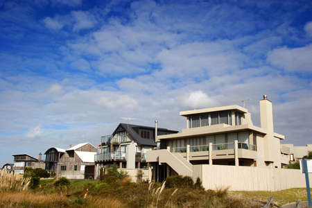 modern beach homes on a sunny day