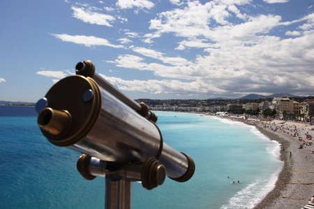 Old telescope overlooking Nice beach, France