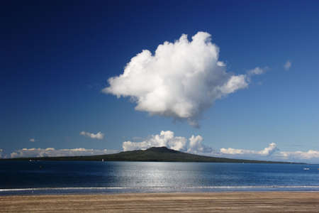Rantitoto island from Takapuna Beach, Auckland, New Zealand