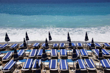loungers on the beach, Nice, France