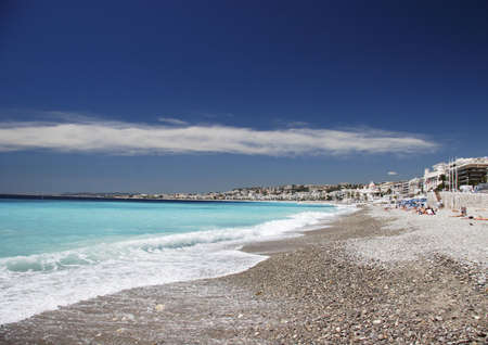 Water lapping on the beach, Nice, France