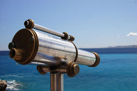 Old telescope overlooking the Med, Nice, France Stock Photo