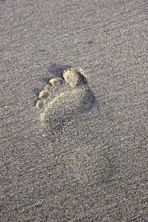Foot print in the sand, Omaha Beach