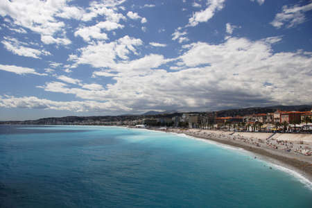 Nice beach from above, Nice, France   Stock Photo
