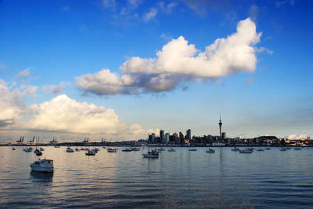 Auckland skyline with blue sky, new zealand