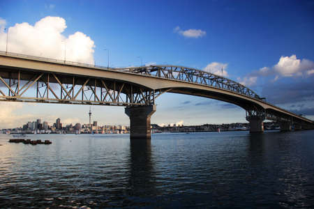 sea port: Harbour Bridge on a blue day, Auckland, New Zealand