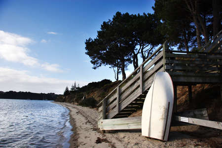 dingy: Dingy at the beach, New Zealand landscape