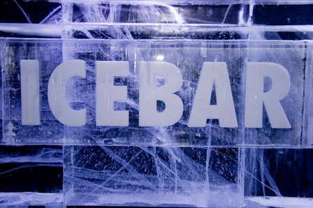 Ice Bar sign made from Ice   Stock Photo