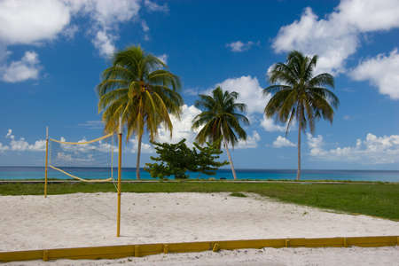 Volley Ball court on the beach, Playa Maria, Cuba Stock Photo