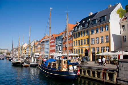 Nyhavn street and channel in Copenhagen, Denmark