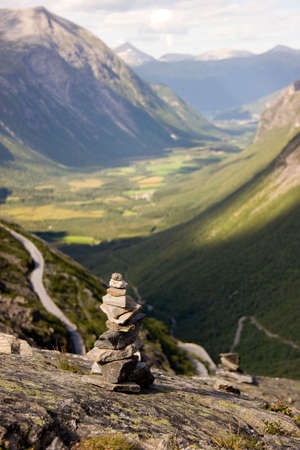 Rock Pile in front of valley, Norway