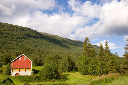 Red barn in the country, Norway   photo