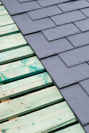 roofing membrane: Roof, slate Stock Photo
