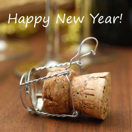 champagne cork: Happy new year