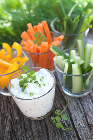 curd: Raw vegetables, fresh curd