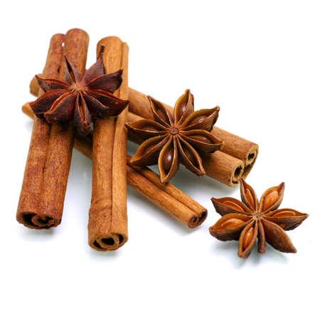 star anise: Star anise, cinnamon Stock Photo