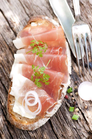 Bread with cured ham Stock Photo - 13274062