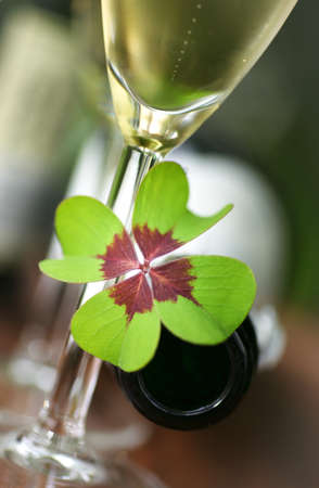 Lucky clover, sparkling wine Stock Photo - 13274070