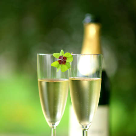new year  s day: Lucky clover, sparkling wine
