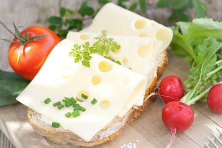picknick: Rustic bread with cheese Stock Photo