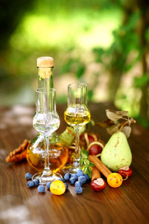 Schnaps and liqueur with several fixings photo