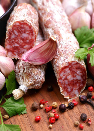 Salami with garlic photo