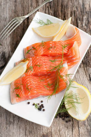 Raw salmon on a dish Stock Photo - 13392739