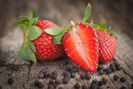 black pepper: Strawberries, black pepper  Stock Photo