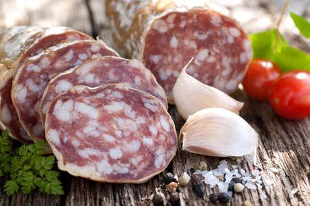 air dried salami: Rustic salami with garlic