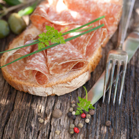 Rustic bread with salami Stock Photo - 13573093