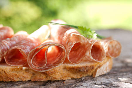 air dried salami: Bread with salami Stock Photo