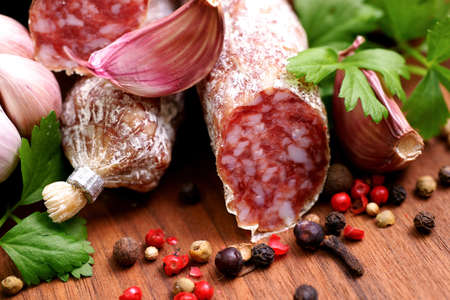 Garlic-salami Stock Photo - 13703708