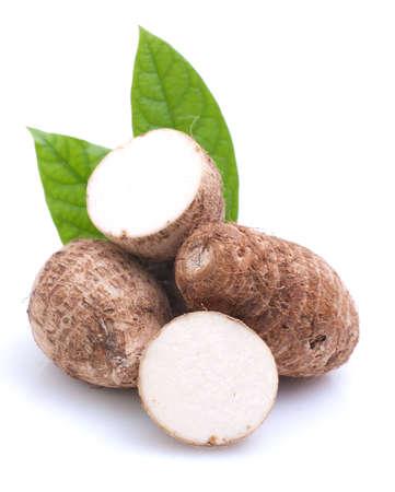 Taro root on white ground