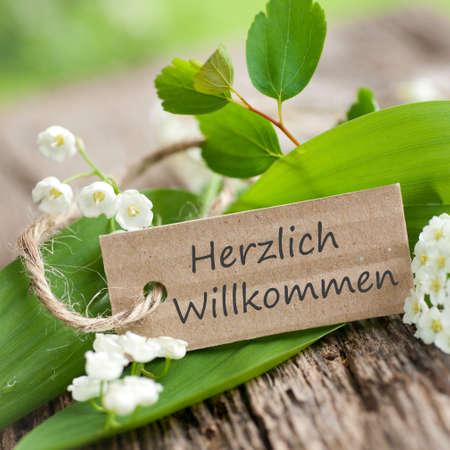 willkommen: German Herzlich Willkommen Stock Photo