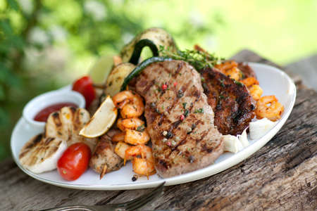 grilled steak: Mixed grill Stock Photo