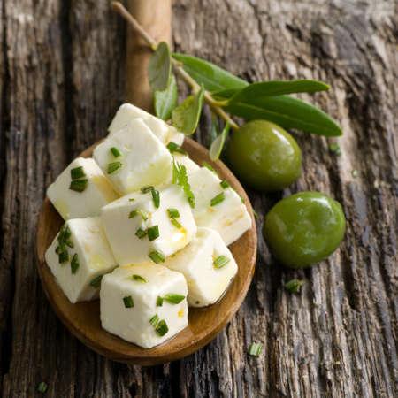 feta cheese: Diced feta with herbs Stock Photo