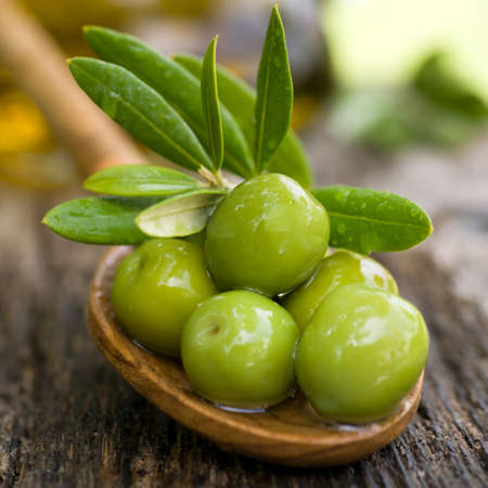 hoja de olivo: Aceitunas verdes frescas