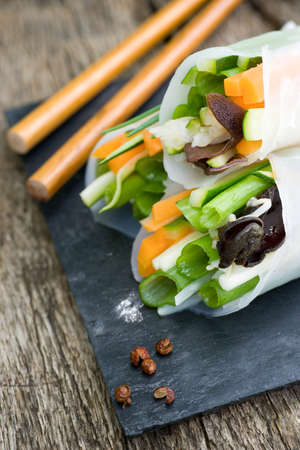 err: Raw spring rolls Stock Photo